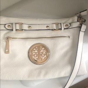BNWOT white leather purse with gold emblem